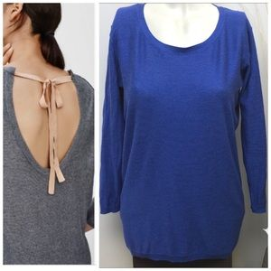 T.BABATON • Blue Bailey Back Tie Sweater • Size XS